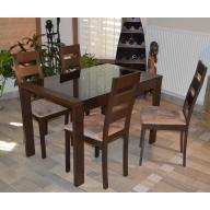 Amira üveges étkezőgarnitúra - Nyitható üveges asztal + 4 szék MINDEN RAKTÁRON