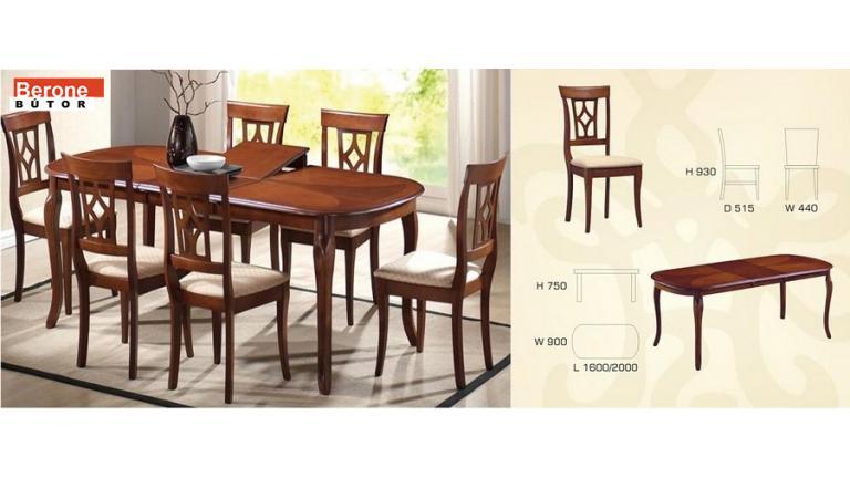 Bergamo étkező garnitúra - asztal + 6 szék