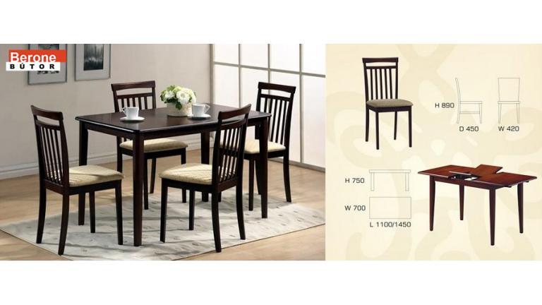Ninja étkező garnitúra - kinyitható bővíthető asztal + 4 szék