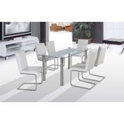 Bond üveg étkező garnitúra 4 króm székkel