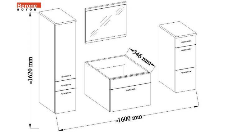 modern fürdőszoba bútor - wenge/MDF fényes fekete